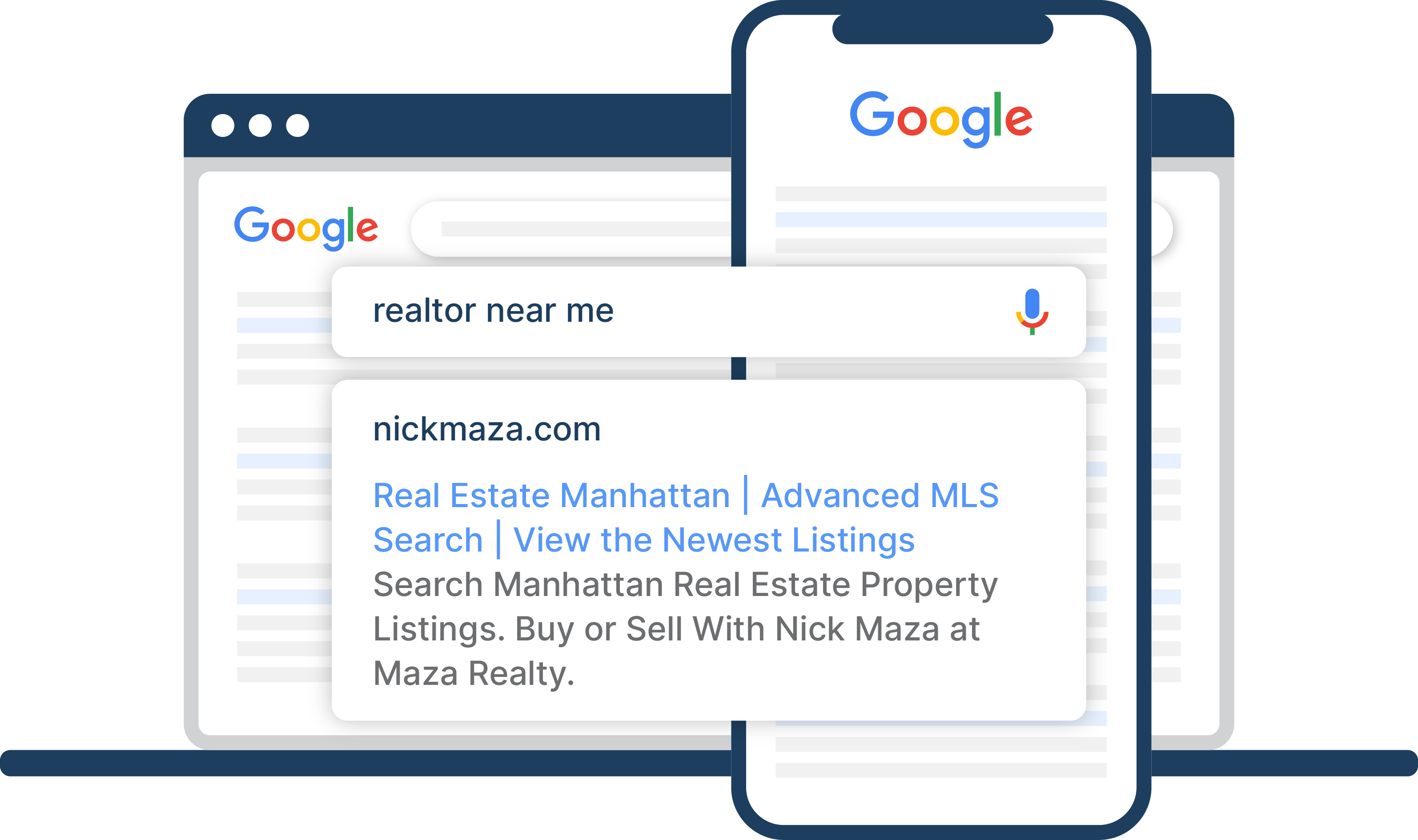 Google search for 'realtor near me' displaying a Google Ad from a realtor Nick Manza who does Real Estate Marketing with RealDigiAds